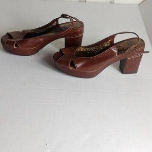 ROUTE 66 WOMEN'S DARK BROWN SIZE 6 CHUNKY HEELS